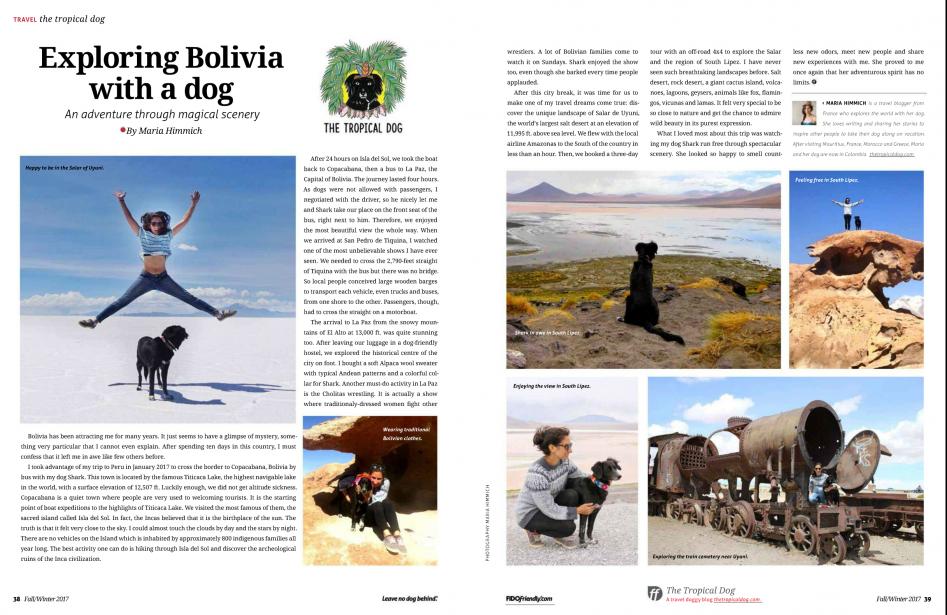 The tropical dog Fido friendly magazine