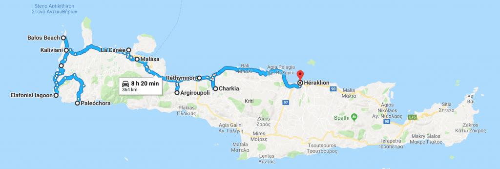Road trip dans l'ouest de la Crète avec un chien
