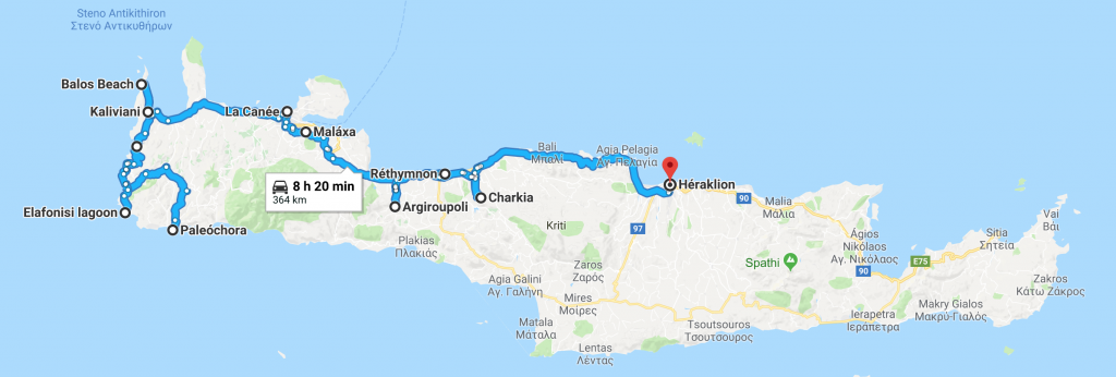 Road trip in Western Crete with a dog map