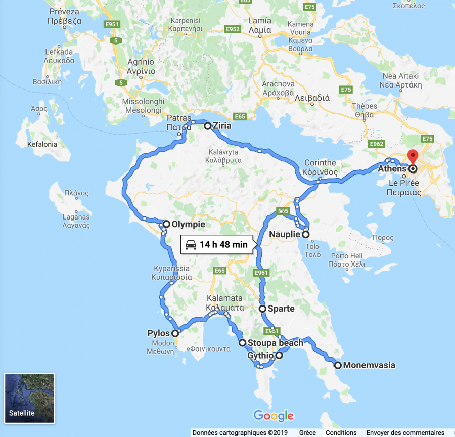Road trip dans le Peloponnese avec un chien